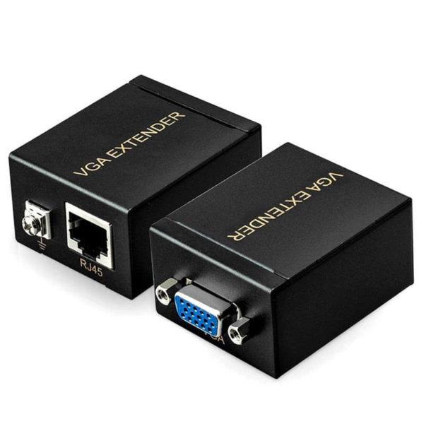Адаптер VGA/SVGA удлинитель по кабелю UTP Cat 5e (до 60м), комплект