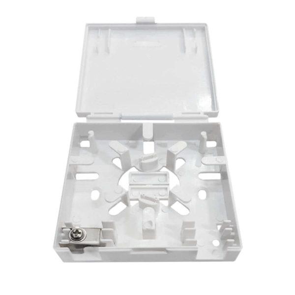 Бокс оптический настенный для сетей, пластик FTTH (86х88х20 мм)