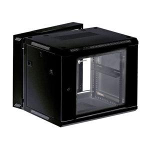 KRAULER KRC66506 шкаф настенный 3-х секционный, 6U, 600*550*368мм, стекл. дверь, черный