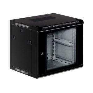 KRAULER KRC76415 шкаф настенный 2-х секционный, 15U, 600*450*769мм, стекл. дверь, черный
