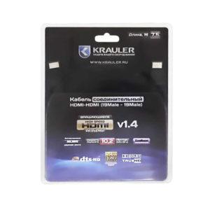 Кабель соединительный Krauler HDMI-HDMI 7.5м (180′ вращения, 24gold разьемы, медь, 340Мгц, HDMI1.4)